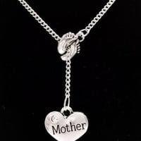 Baby Footprints Mother Baby Shower Gift Mom Lariat Style Necklace