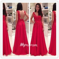 Red Cap Sleeves Sheer Back Chiffon Prom Dress With Lace Appliques