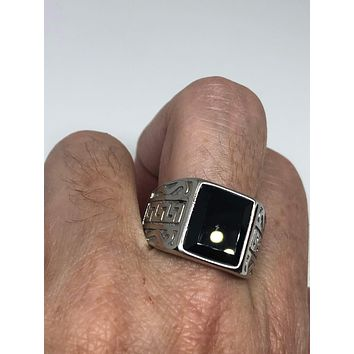 Vintage Gothic Black Onyx stainless steel Mens Ring