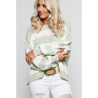 Make Me Stay Striped Sweater (Ivory/Sage)