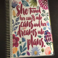 """Erin Condren OR Happy Planner OR MomOnTheGo Cover Set Watercolor Flowers """"She Turned Her Can'ts Into Cans"""" Quote"""