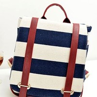 Retro Navy Style Strip Print Canvas Backpack from styleonline