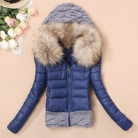 coats women large fur collar medium-long thickening female duck down jacket plus size snow outwear Parkas = 1931737284