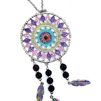 Painted Dream Catcher Necklace Feather Pendants Boho Hippie Jewelry FREE SHIPPING