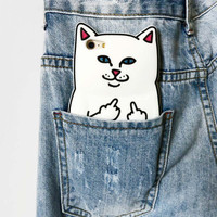 F Off Middle Finger Pocket Cat Trending Silicon iPhone Case _ 5024