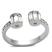 Middle Finger Ring 3W526 Rhodium Brass Ring with Top Grade Crystal