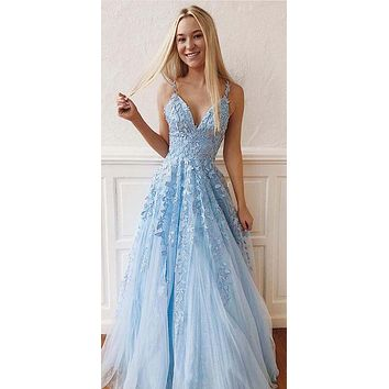 Light Blue Prom Dress with Lace, Prom Dresses, Pageant Dress, Evening Dress, Ball Dance Dresses, Graduation School Party Gown, DT0655