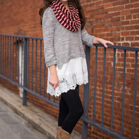 Show Your Lace Tunic, Gray