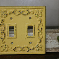 Double light switch cover / metal  / electrical covers / light switch covers / shabby chic /  light switch plates