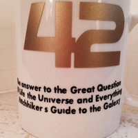 Hitchhiker's Guide to the Galaxy inspired Coffee mug. Hitchhiker's 42 coffee mug