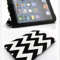 Nine States Unique Zigzag Print PU Leather Folio Case for iPad Mini,Ultra-slim Fit Protective Case Cover,Retail Packaging,Color Varies(black)