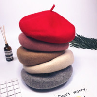 Classic solid color wool woolen cap retro painter hat wild beret lady hat