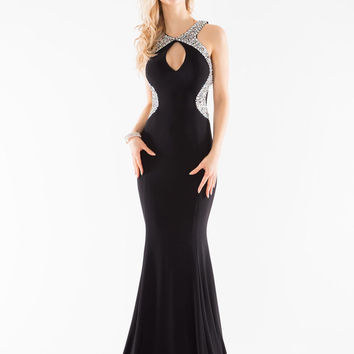 GLOW G419 Black Beaded Prom Dress Evening Gown with Train