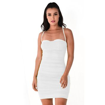 Light Bright White Sheer Mesh Sleeveless Spaghetti Strap Straight Neckline Ruched Bodycon Mini Dress