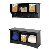 Sonoma Black Cubbie Bench and Wall Coat Rack Set