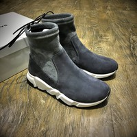 Best Online Sale Balenciaga Speed HIGH Scrub Ankle Boots Sport Shoes Grey White Color
