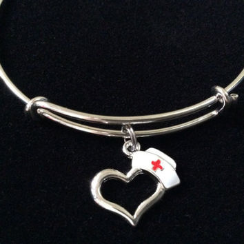 Silver Nurse Hat Charm Silver Adjustable Expandable Silver Plated Bangle Bracelet One Size Fits Most