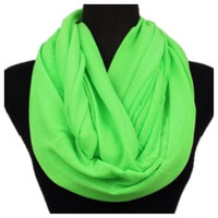Soft and Smooth Bright Green Infinity Scarf, Neon, Loop Scarf