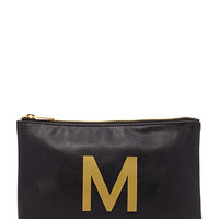 Faux Leather M Initial Pouch