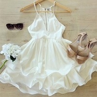 598713 Cute white dresses v-neck sleeveless casual mini dress | Candy Blue Shop