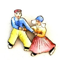 Enamel Czech Dancing Couple Brooch