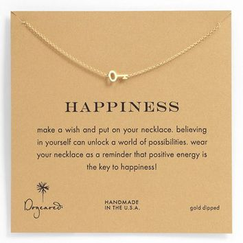 Women's Dogeared 'Whispers - Happiness' Boxed Pendant Necklace - Gold Dipped