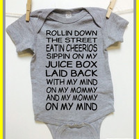 Baby Clothes. Rollin down the Street. 8 colors. Snoop Dog. bodysuit. baby shower gift. announcement. baby boy baby girl. Mommy on my mind