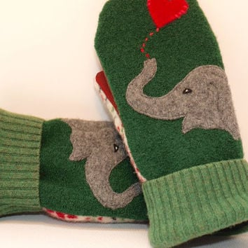 Eco Friendly Mittens Wool Sweater Mittens Felted Wool Green Grey and Red Elephant Applique Fleece Lining Leather Palm Upcycled Size M/L