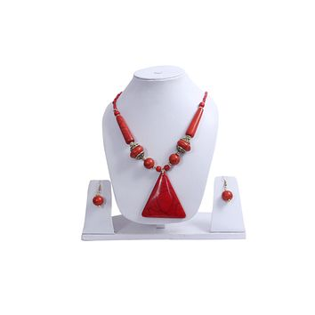 """Beach, Chunky, 15"""" Necklace Set with Orange Wood , Amber Seeded Beads With Hoop Earrings"""