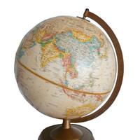 Vintage World Globe Replogle 12 Inch World Classic Series Raised Relief Sepia Tone - Early 1980s - Home or Office Decor