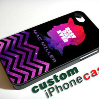 Mac Miller Best Day Ever With Space Nebula Chevron - Print Case iPhone 4/4s case Or iPhone 5 case - Black Or White Side Case (Option)