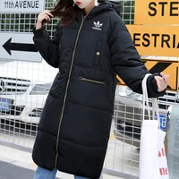 """Adidas"" Women Simple Fashion Solid Color Long Sleeve Middle Long Section Hooded Cotton-padded Clothes Bread Down Jacket Coat"