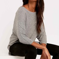 Sparkle & Fade Rib Dolman Jumper in Grey - Urban Outfitters