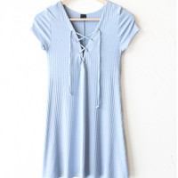 Lace Up Dress - Dusty Blue