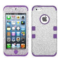 MYBAT IPHONE5HPCTUFFDMS014NP Premium TUFF Diamante Case for iPhone 5 - 1 Pack - Retail Packaging - Silver Diamante/Electric Purple