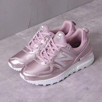 new balance metal leather women sneaker rose gold-1