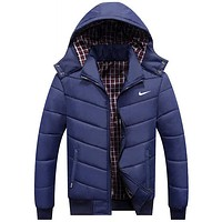 """NIKE"" Winter Casual Hooded Zipper Men Women Cardigan Sweatshirt Cotton Jacket Coat Windbreaker Dark Blue"