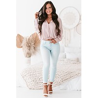 Sunny Situation Satin Button-Front Top (Light Pink)