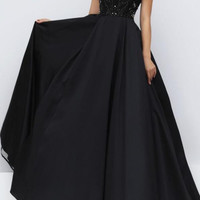 Cap Sleeve A-Line Beaded Prom Dresses