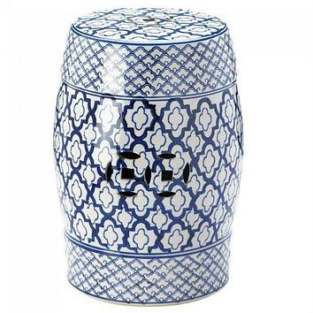 Blue and White Ceramic Stool or Side Table
