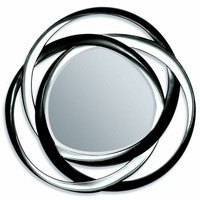 "A.M.B. Furniture & Design :: Wall Mirrors :: Silver and black finish circles geometric design hanging wall mirror.  Measures 51"" Dia."