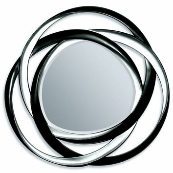 """A.M.B. Furniture & Design :: Wall Mirrors :: Silver and black finish circles geometric design hanging wall mirror.  Measures 51"""" Dia."""