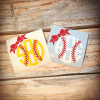 Baseball Bow Monogram or Softball Bow Monogram Sticker or Decal - For Laptop, Car, Notebook, phone, iPhone, etc.