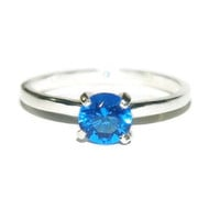 1 Carat Blue Sapphire Ring, Four Prong Engagement Ring, September Birthstone, Lab Created
