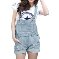 Fashion Girl Denim Rompers Strap Pockets Frayed Ripped Holes Overalls Rompers s Jumpsuit Shorts Jeans Light Blue