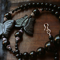 Black Butterfly Necklace and Earrings - High Fashion, Glamorous Sterling Silver Bali Statement Jewelry Set, Eveningwear