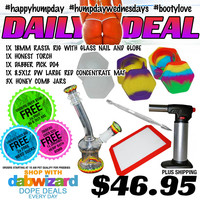 DAILY DEAL 07/15/2015: 1x 18mm Rasta Rig with Glass Nail and Globe + 1x Honest Torch + 1x Dabber Pick D04 + 1x 8.5x12 Dab Wizard Large Red BHO Oil Concentrate Mat + 3x Honey Comb Jars