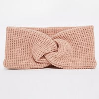 Pink Twist Front Knitted Headband