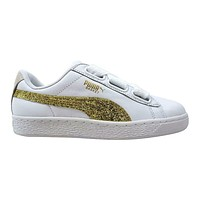 Puma Basket Heart White Gold Leather 364078 01 Womens Casual Sneakers