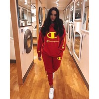 Champion Autumn And Winter New Fashion Embroidery Letter Hooded Long Sleeve Sweater Sports Leisure Top And Pants Two Piece Suit Red